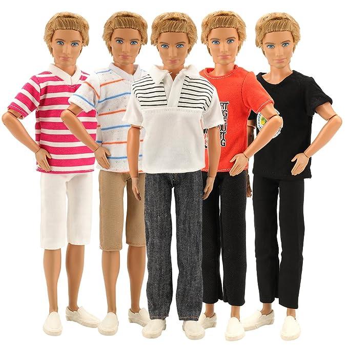 Amazon.es: Miunana 3 Traje de Ropas Hecha a Mano Casual con Deportivo Verano Fashion Camisas y Pantalones Cortos para Novio Ken Muñeco Barbie Doll Estilo ...