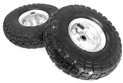 """10 """"neumático carretilla/carro/carro de jardín ruedas juego de (2"""