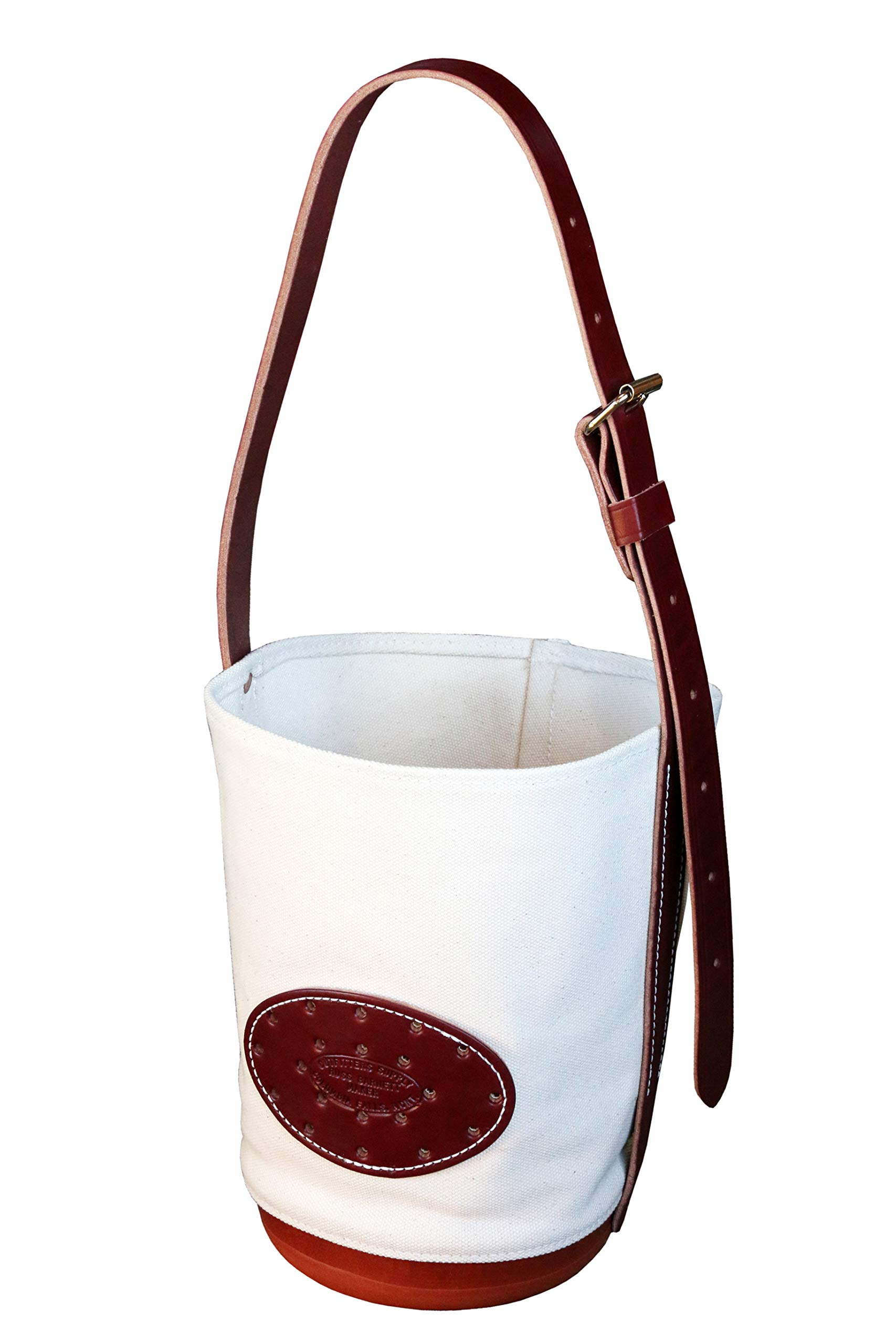 Outfitters Supply Classic Canvas & Leather Horse Or Mule Feedbag, Handmade in Montana USA Leather and Hardware, Adjustable Strap, Solid Molded Leather Bottom with Side Ventilation