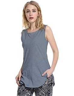dde7101c456c3 STYLE Women s Extra Long Loose Cotton Tank Top Sleeveless Workout Shirt