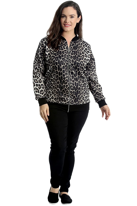 Nouvelle Collection Womens Plus Size Bomber Jacket Ladies Animal Leopard Print Ribbed Cuffs Hem Zip Closure Coat