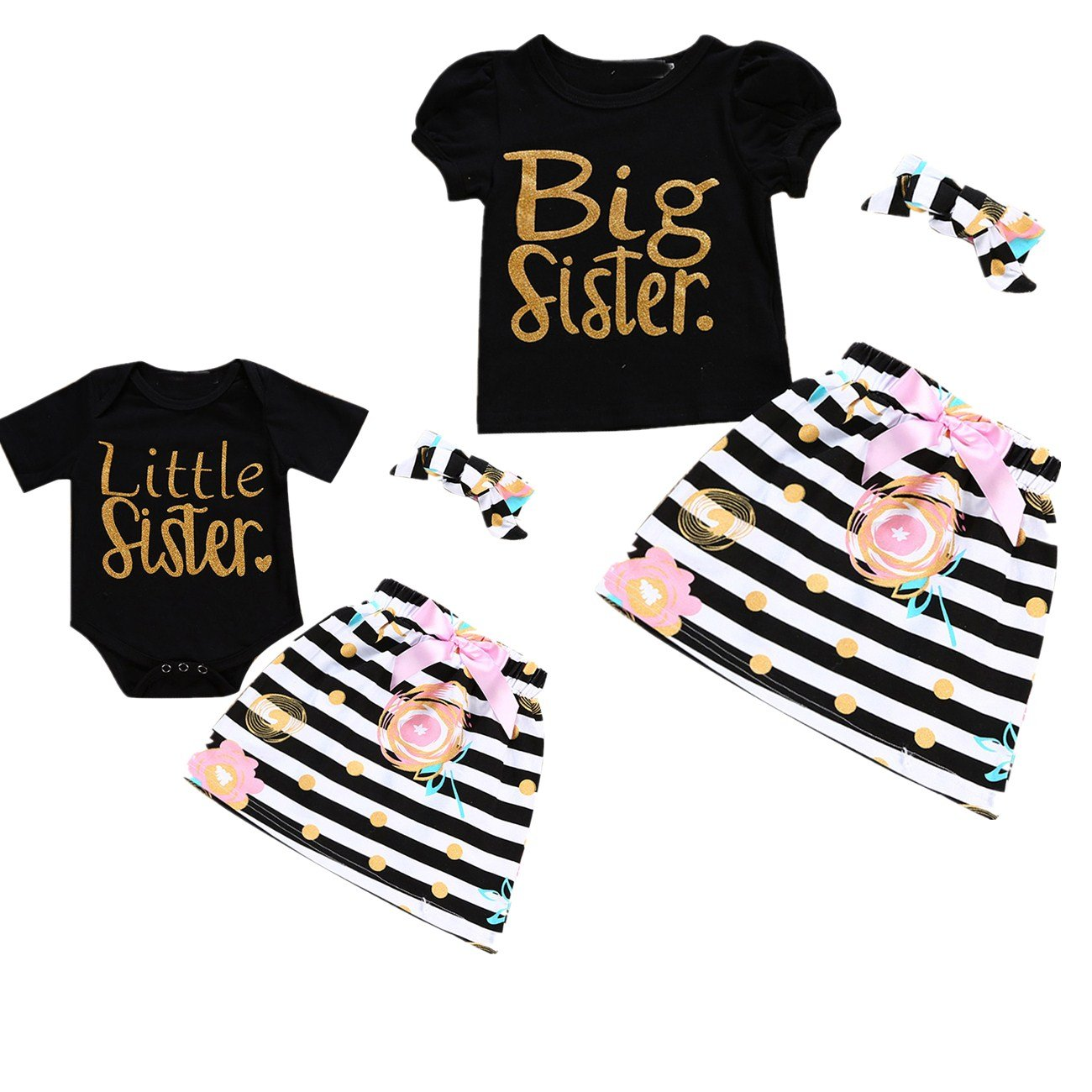 Little Big Sister Matching Romper T-Shirt Polka Dot Skirt Headband Outfits Set