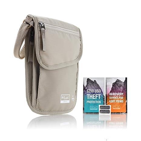 7caa81fb8c Amazon.com  Neck Wallet   Hidden Passport Holder - RFID w Theft Insurance  and Lost   Found Service  Peak Gear