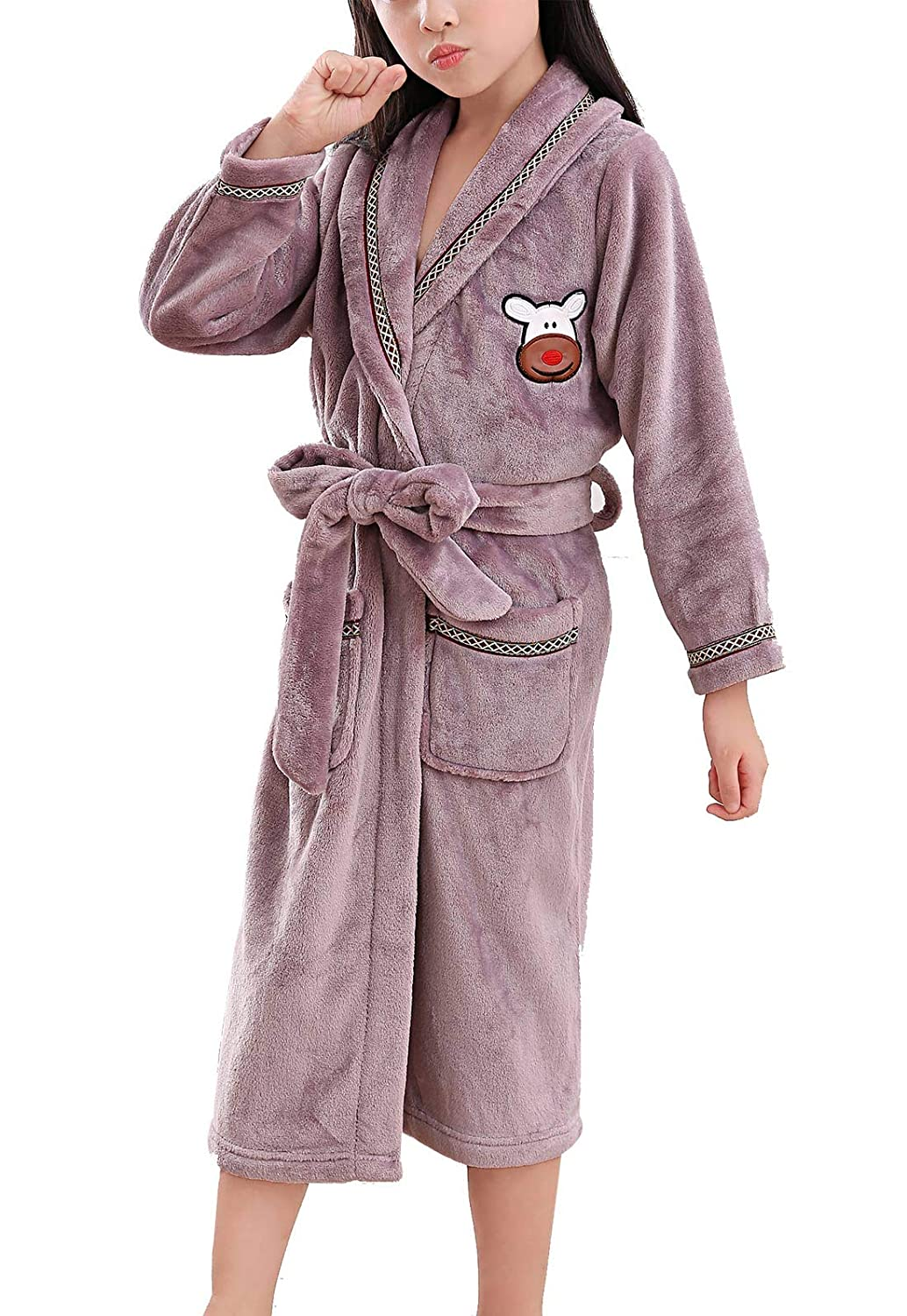 Happy Cherry Kids Plush Fleece Bathrobe Shawl Collar Sleepwear for Boys Girls HW28FAR