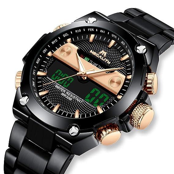 Relojes de Hombre Digital Relojes de Pulsera Militar Lujo Negro Deportivo Impermeable LED Grandes de Acero