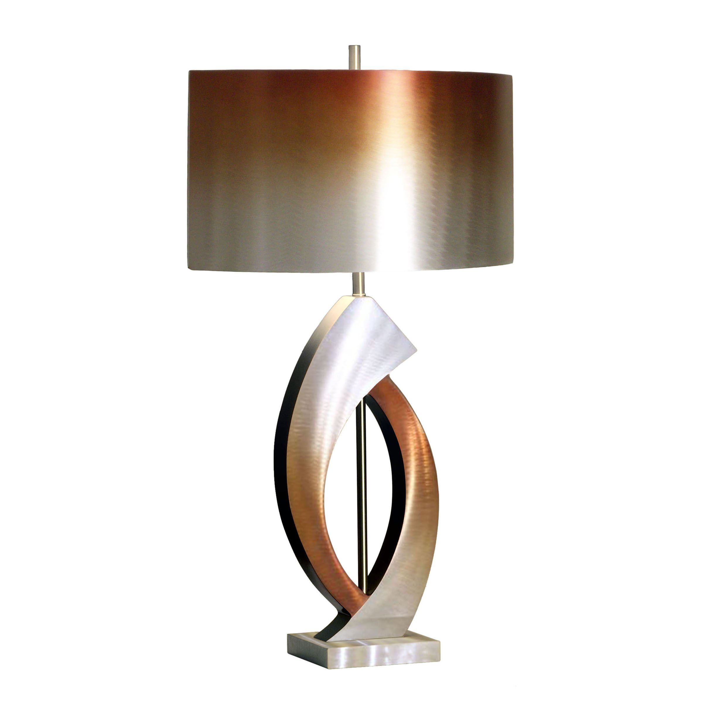 Nova Lighting 10640 Swerve Table Lamp, Brushed Aluminum, Rust & Bronze with Rust & Bronze Aluminum Shade by Nova Lighting