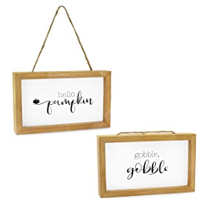 AuldHome Farmhouse Decor Fall Theme Wood Signs (Set of 2); Door Hanger Welcome Harvest Thanksgiving Autumn Seasonal Plaques 8.5 x 5 inches