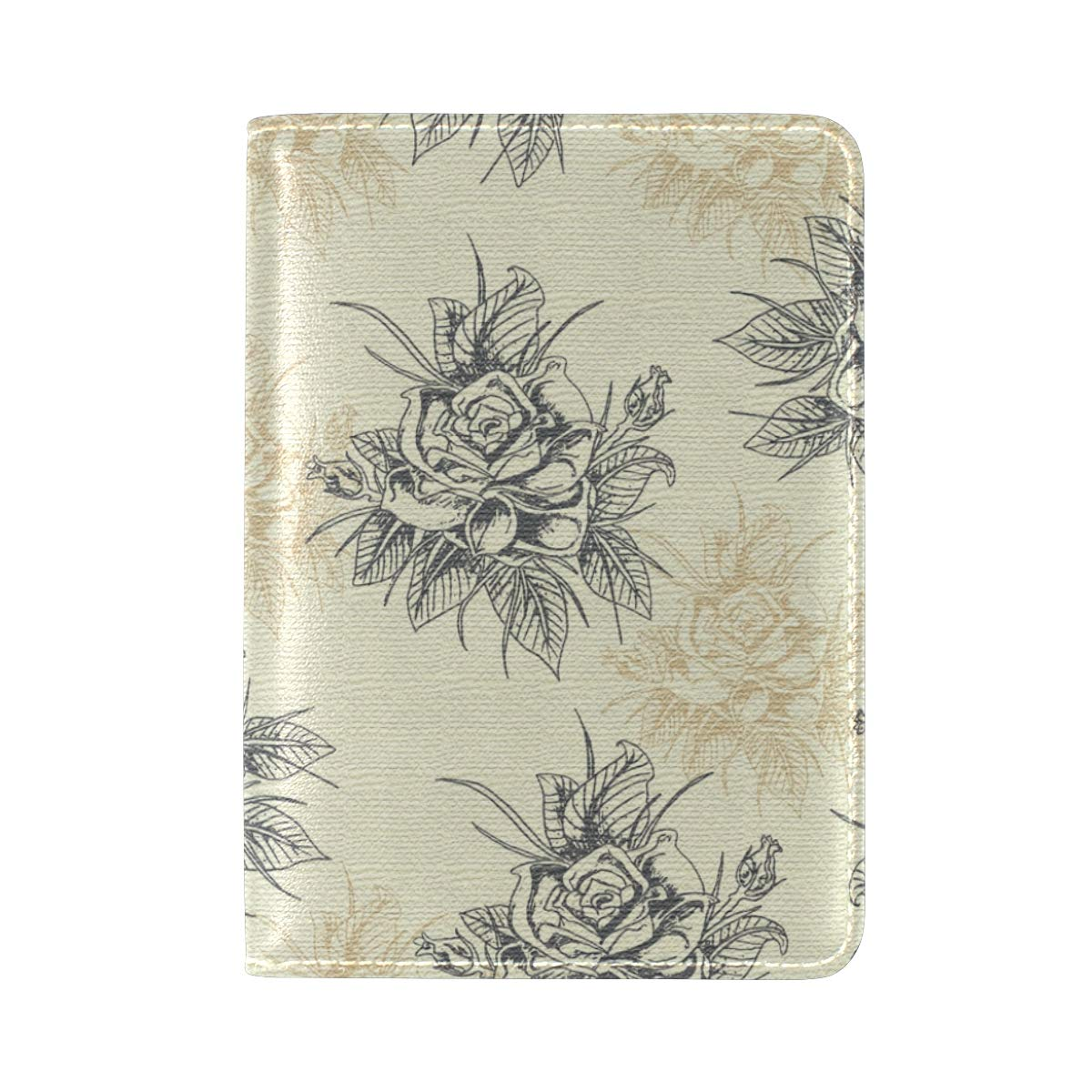 Seamless Pattern Vintage Hand Drawn Rose One Pocket Leather Passport Holder Cover Case Protector for Men Women Travel