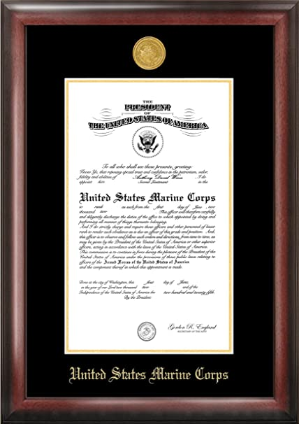 Amazon.com - Marine Commission Frame Gold Embossed - Document Frames