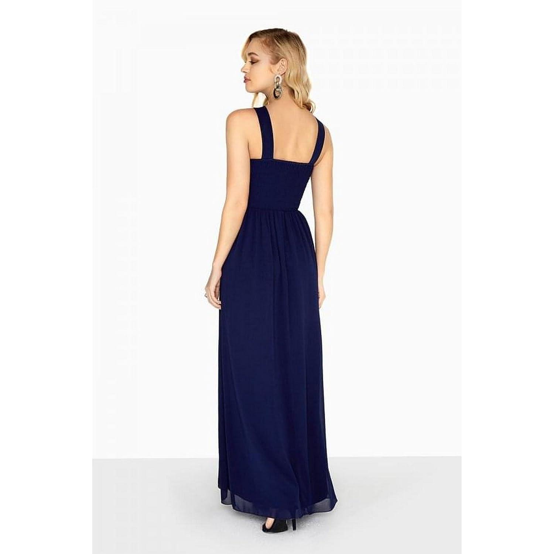 Little Mistress - Vestido Largo con Pedrería en la Cintura Modelo Zara para Mujer (36/Azul Marino): Amazon.es: Ropa y accesorios