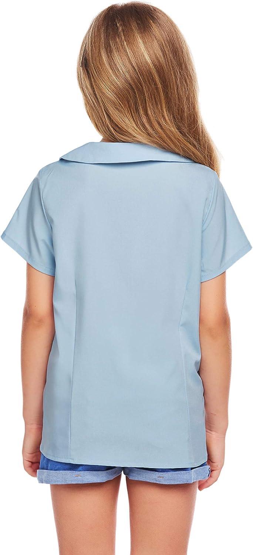 trudge Fille Chemise Uniformes Manches Courtes Chemisier Peter Pan Collier T-Shirt V/êtement Blouse /Âge 4-13 Ans