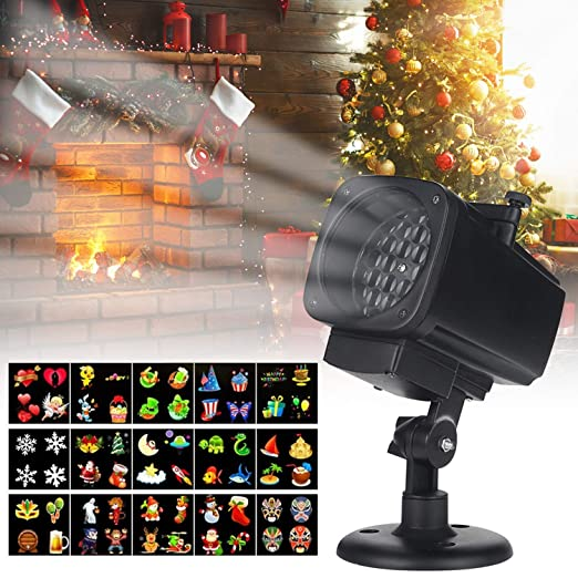 LED Christmas Projector Light, Snow Falling Night Lights White ...