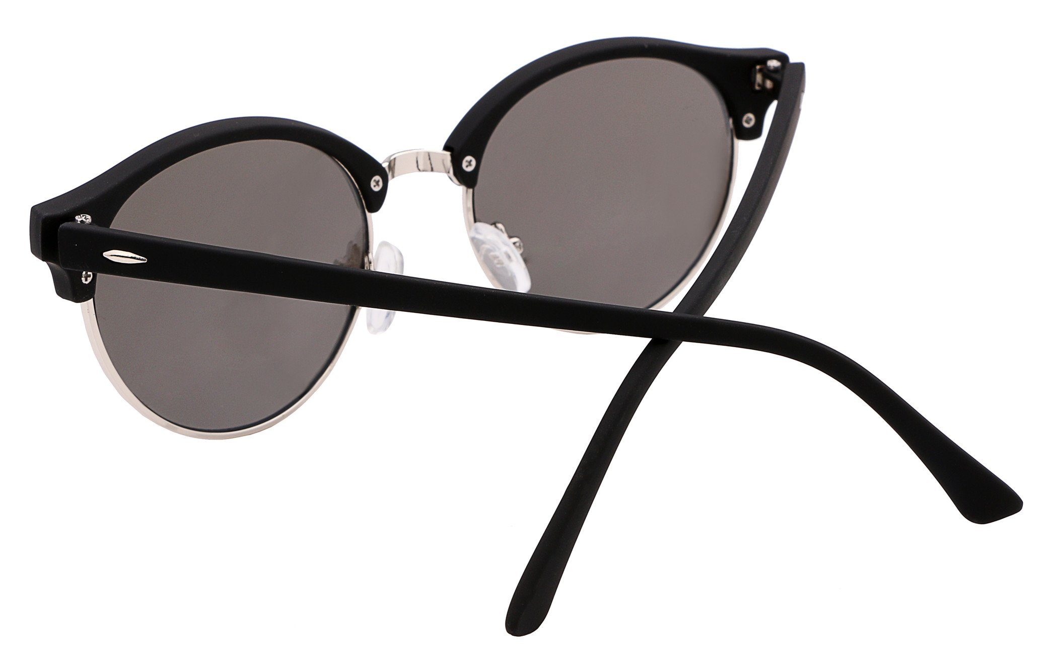 FEISEDY Classic Semi-rimless Round Frame Plastic Lens Sunglasses for Men Women B1882 by FEISEDY (Image #2)