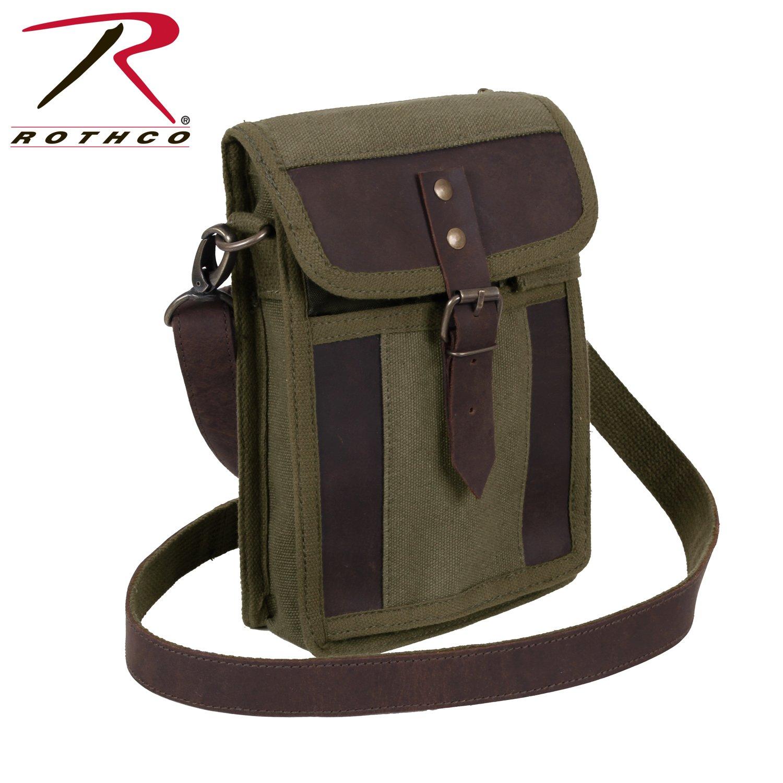 Rothco Canvas Travel Portfolio, Olive Drab/Leather