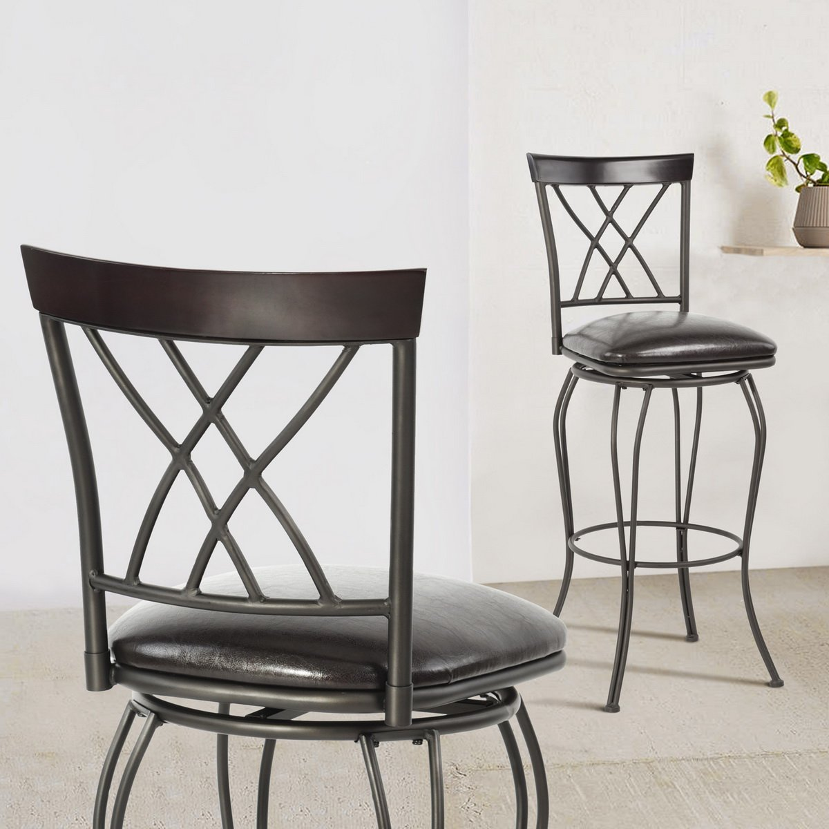 FurnitureR 24'' Circles-Back Swivel Bar stool Counter Height Bar Chair