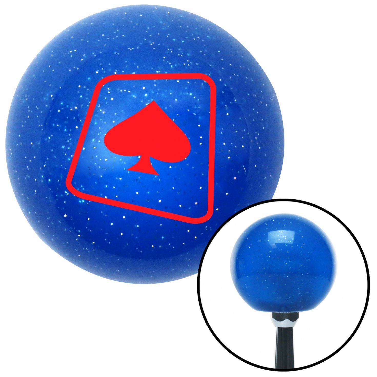 American Shifter 23095 Blue Metal Flake Shift Knob Red Spade on a Card