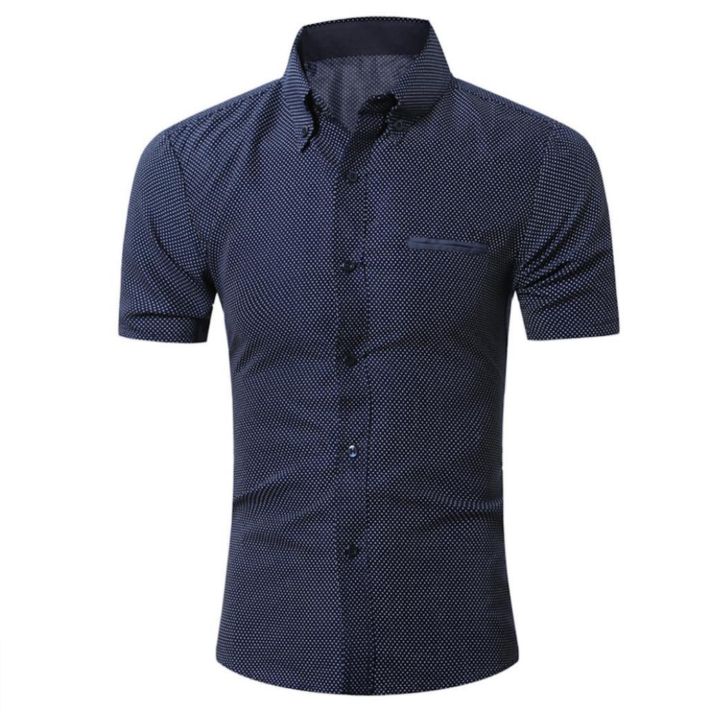 GREFER Men's 2018 Casual Short Sleeve Button T-Shirt Business Shirt Blouse Top (L, Navy)