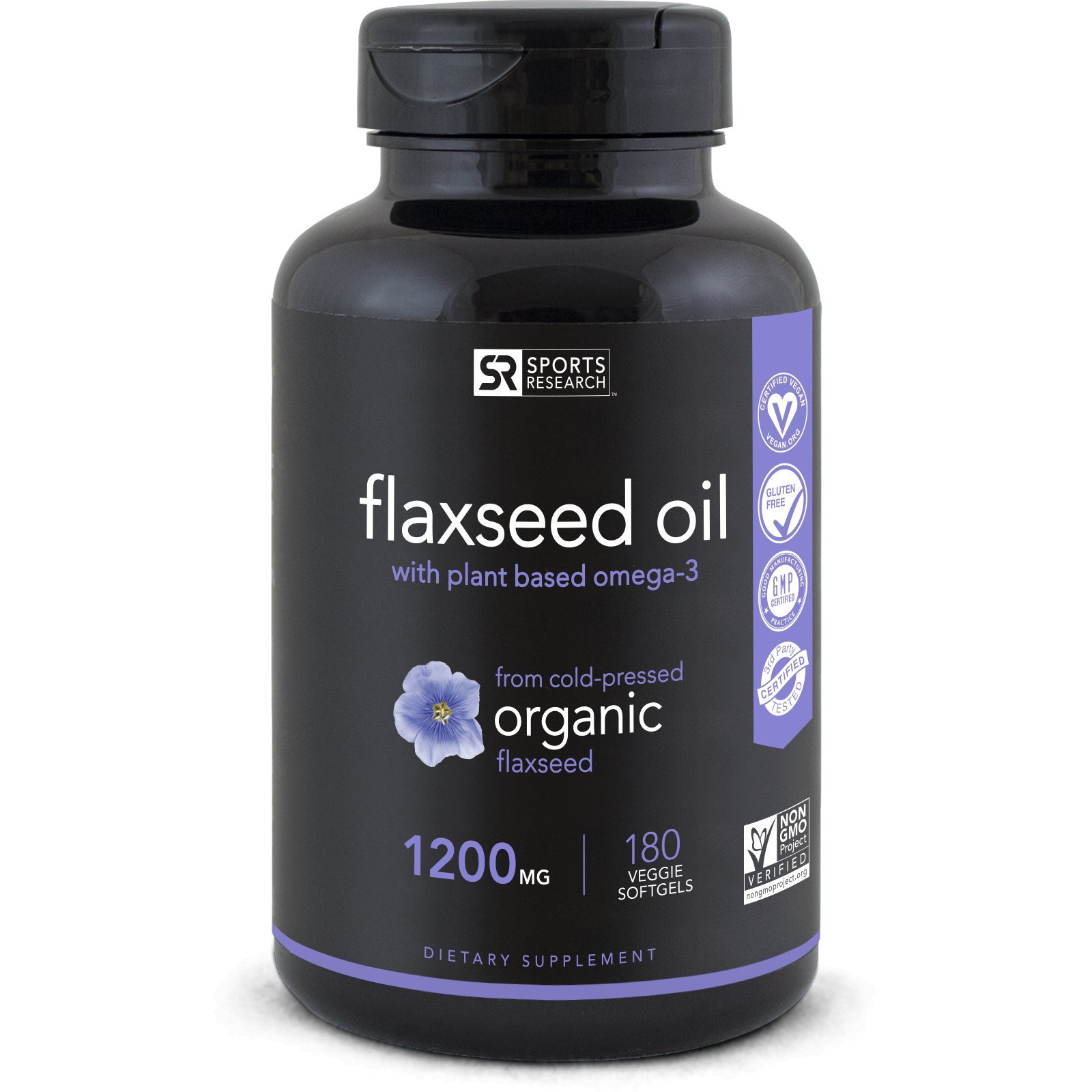 Vegan Flaxseed Oil with Plant Based Omega's 3,6 & 9 | Promotes Cardiovascular Health, Immune Support & Healthy Hair + Skin | Vegan Certified & Non-GMO Project Verified (180 Veggie-Softgels)
