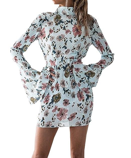 Mujer Mini Falda Cabestro Descubiertos Estampado de Flores Vestido Vintage Vestidos De Moda Corto para con