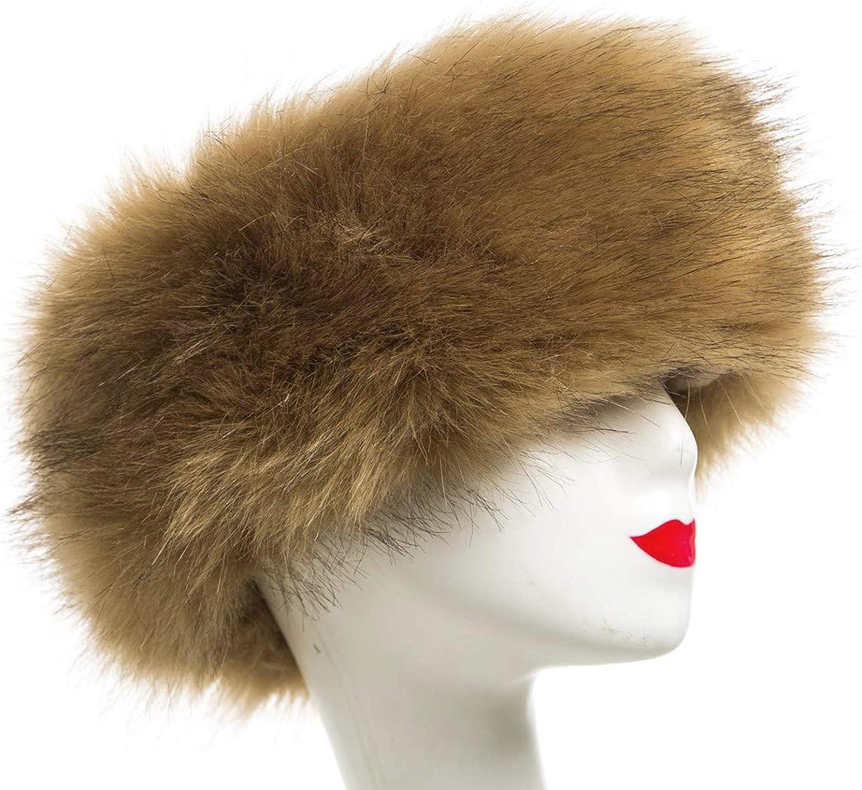 flauschigem Fellm/ütze Ohrensch/ützer f/ür Skifahren und kaltem Wetter FHQHTH Stirnband aus Kunstfell mit elastischem Winter-Ohrenw/ärmer f/ür Damen