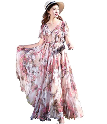 496d069f9bd Medeshe Women s Flowy Lightweight Hawaii Beach Maxi Dress With Sleeves  (Pink Floral