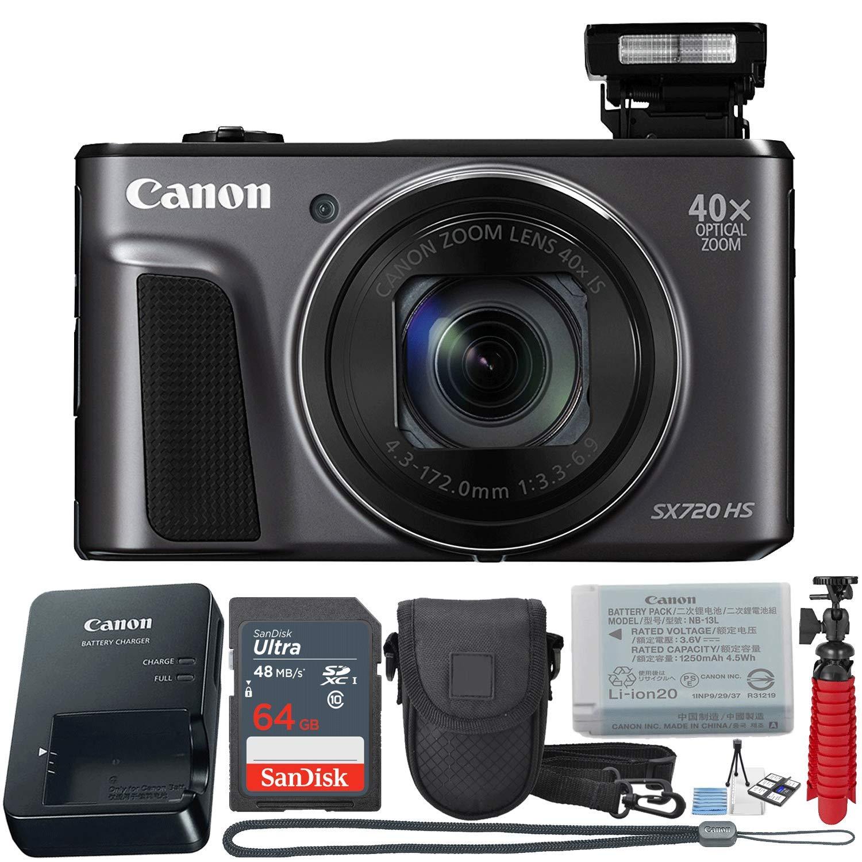 Canon PowerShot SX720 HS 20.3 MP Wi-Fi Digital Camera with 40x Optical Zoom & HD 1080p Video (Black) 11-Piece Value Bundle
