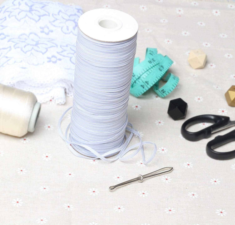 Zoolynaa White 200-Yards Length 1//4 Width Braided Elastic Cord//Elastic Band//Elastic Rope//Bungee//White Heavy Stretch Knit Elastic Spool