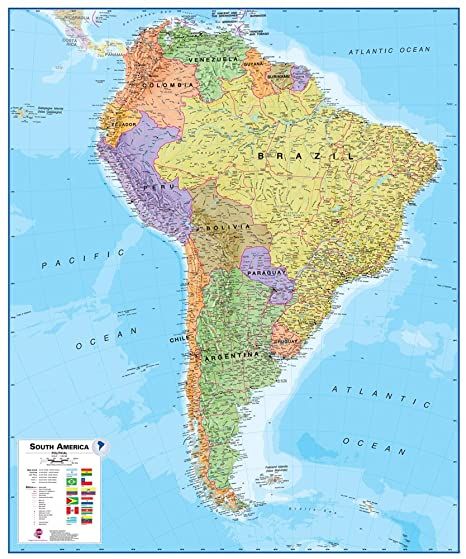 America Map.Amazon Com Maps International South America Wall Map Paper Toys
