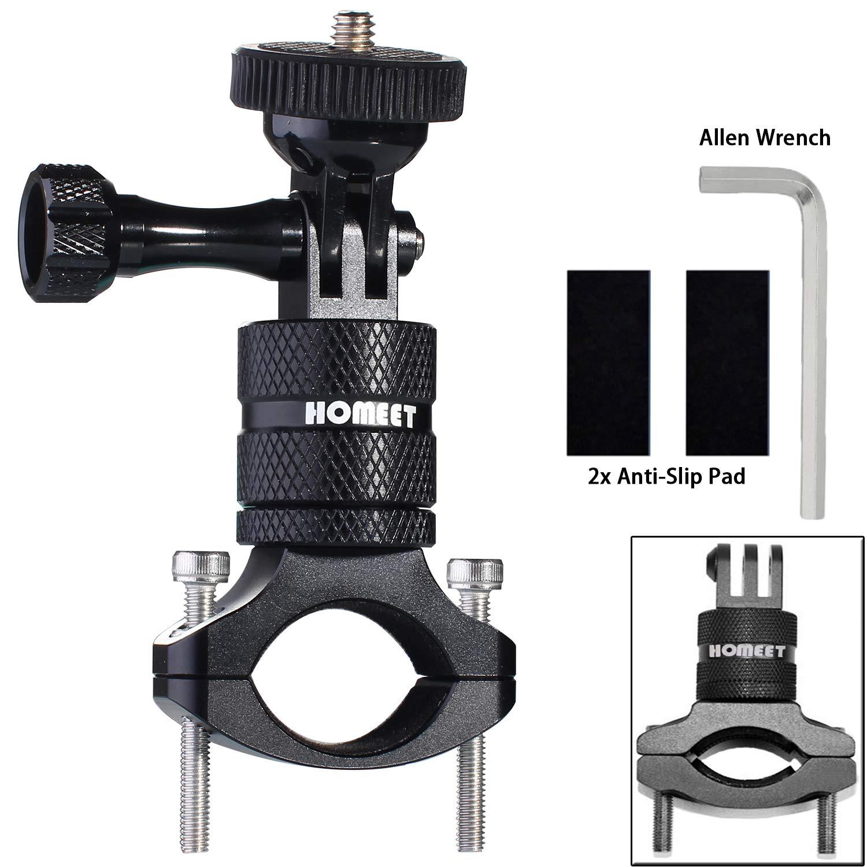 Homeet Actioncam Supporto per Manubrio Bicicletta in Alluminio di Montaggio del Supporto Girevole a 360 gradi, per GoPro SJCAM Garmin Virb per 20mm-35mm Manubrio, (Nero) HM18-777B
