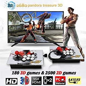 MOSTOP 3D & 2D Arcade Video Game Console 2680 Games in 1 Pandora's Box 180 3D Games 1080P HD 2 Players Arcade Machine with Double Joystick Support Expand 6000+ Games (2680 Dual KOF)