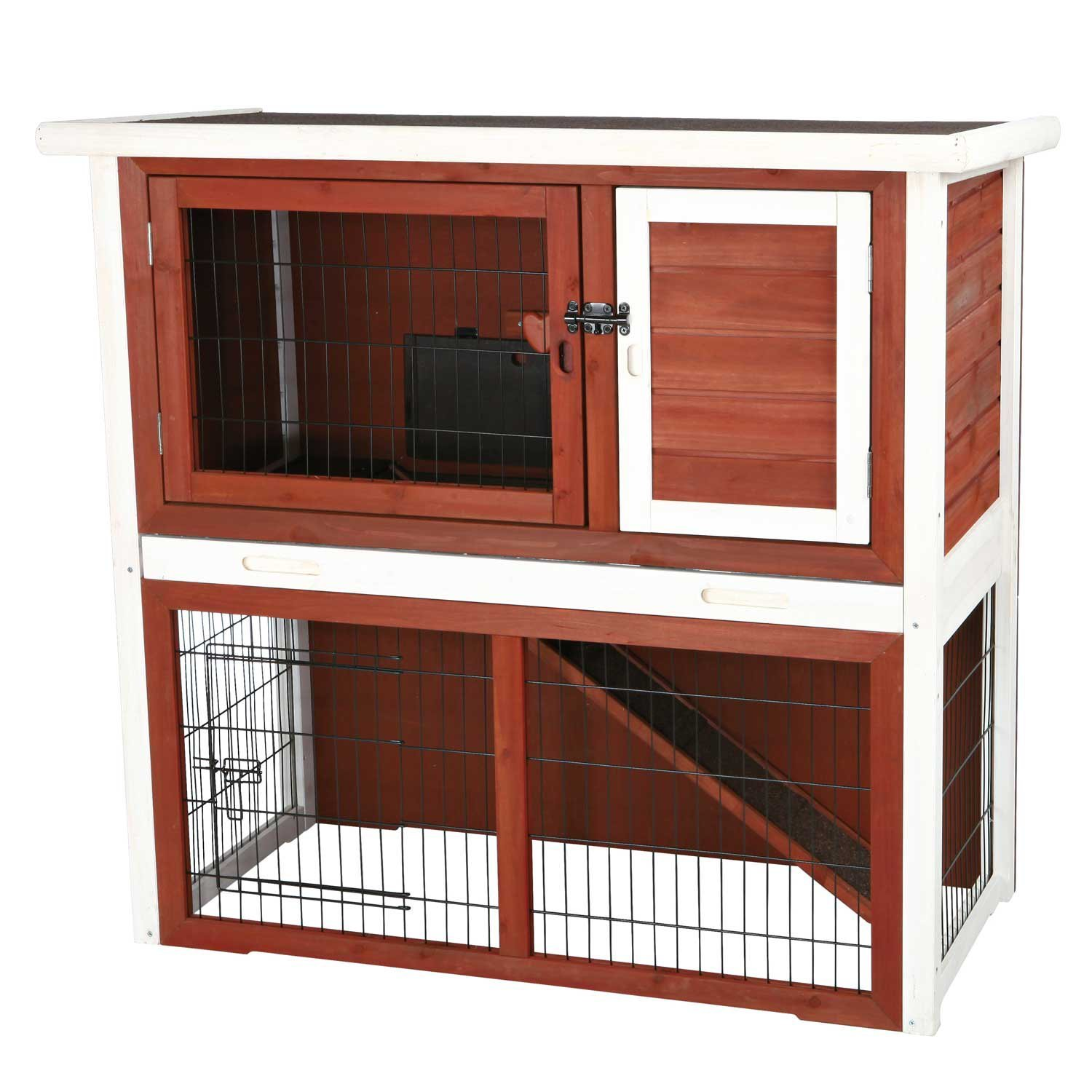 TRIXIE Pet Products 62306 Rabbit Hutch With Sloped Roof, Medium, Brown & White