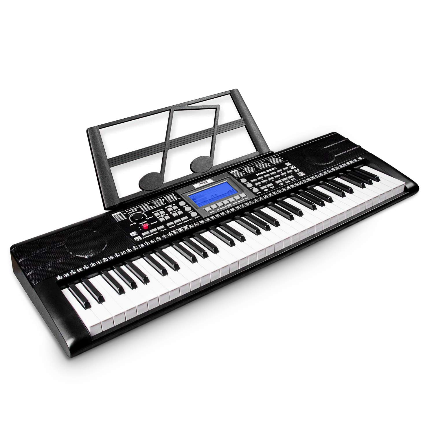 Keyboard Piano, Mugig 61-key Portable Electric Keyboard Piano with Sheet Music Stand, 3 Intelligent Education Teaching Mode, Dual Power Supply&USB Port (Kids & Adults) by Mugig (Image #1)