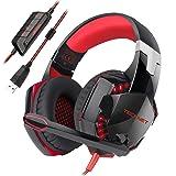 Casque Gaming, TeckNet Over-Ear USB Casque Gaming Headset, Son Surround Virtuel 7.1, Casque Gamer avec Éclairage RGB et Microphone Numérique Amélioré , pour PC
