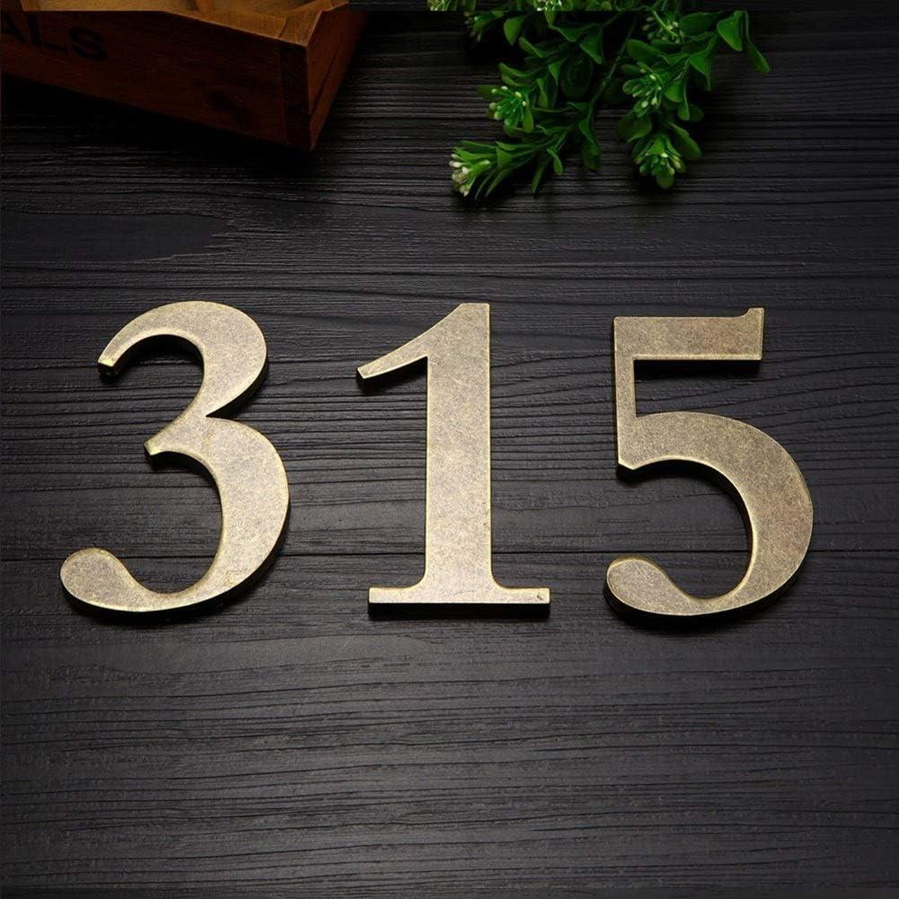WGD Autoadh/ésifs Maison Nombre De Portes Inscription Murale en Laiton Antique Color : Number 0 10cm De Haut Plaques De Porte Villa Hotel Sign Plaques Dext/érieur Bricolage Bar D/écor Numbers M/étal