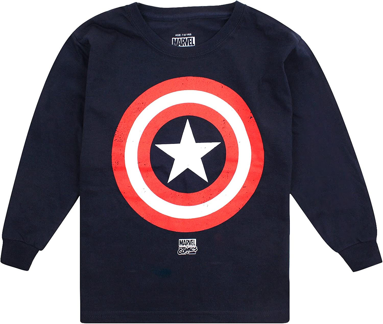 Marvel Captain America Shield Camiseta de Manga Larga para Niños ...