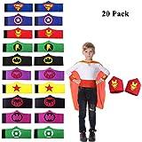 UCLEVER 20 pezzi Superhero Braccialetti per Bambini Ragazzi e Ragazze Supereroe Compleanno Feste Bomboniere, Supereroe Bracciale in feltro, Accessori cinturino Cinturino da polso