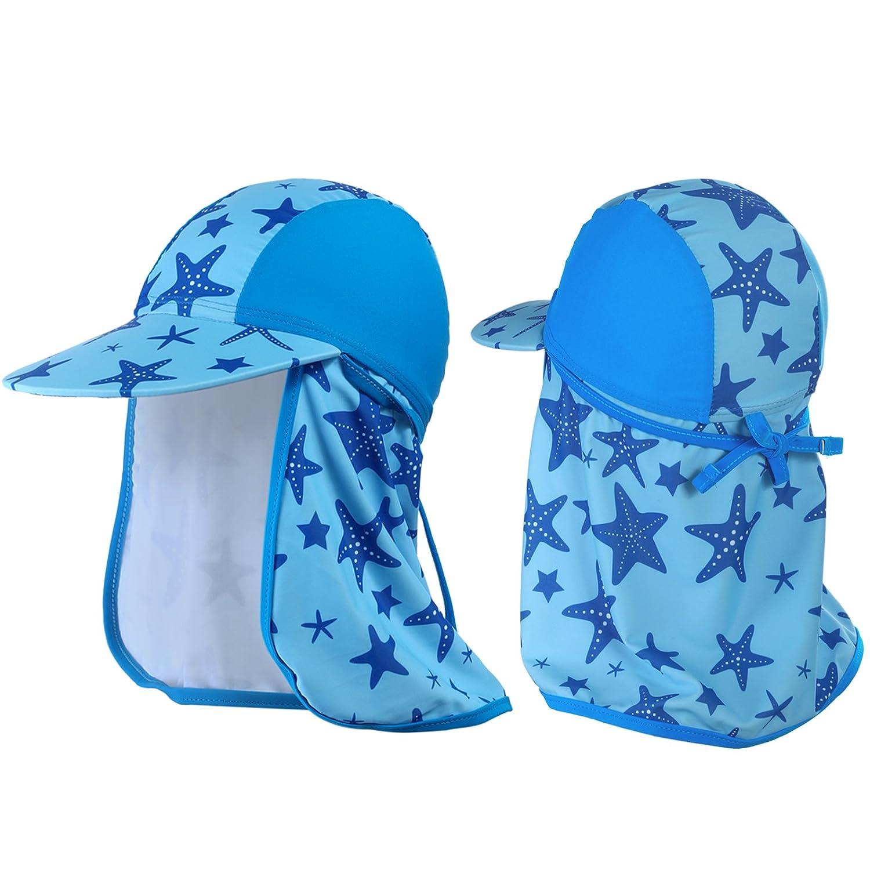 Welrog Baby Swim Beach Cap - Toddler Sun Flap Hat for Pool Bathing