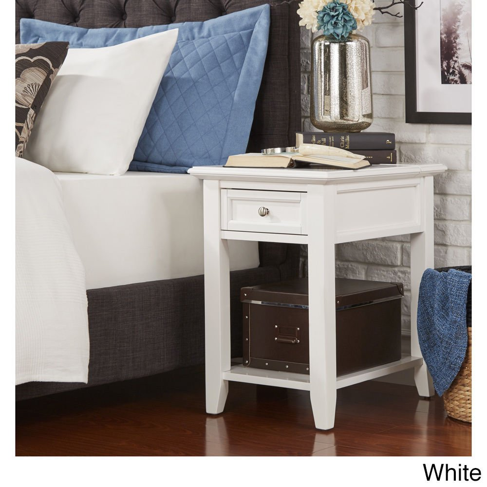 Modern Wood Accent End Table Night Stand with Power Strip1 Drawer and Storage Shelf - Includes Modhaus Living Pen (White)