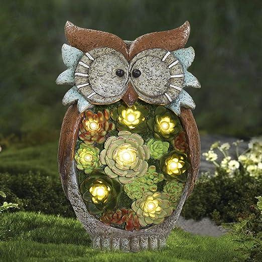 La Jolíe Muse - Adorno de jardín con luces solares para exteriores para patio, césped, decoración de invierno, Navidad, Figura de búho: Amazon.es: Hogar