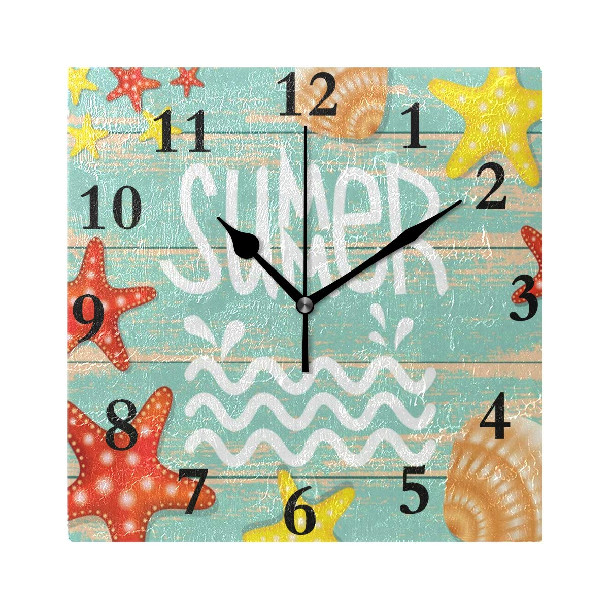 Chu warm Wall Clock Summer Vintage Starfish Silent Non Ticking Decorative Square Digital Clocks Indoor Outdoor Kitchen Bedroom Living Room