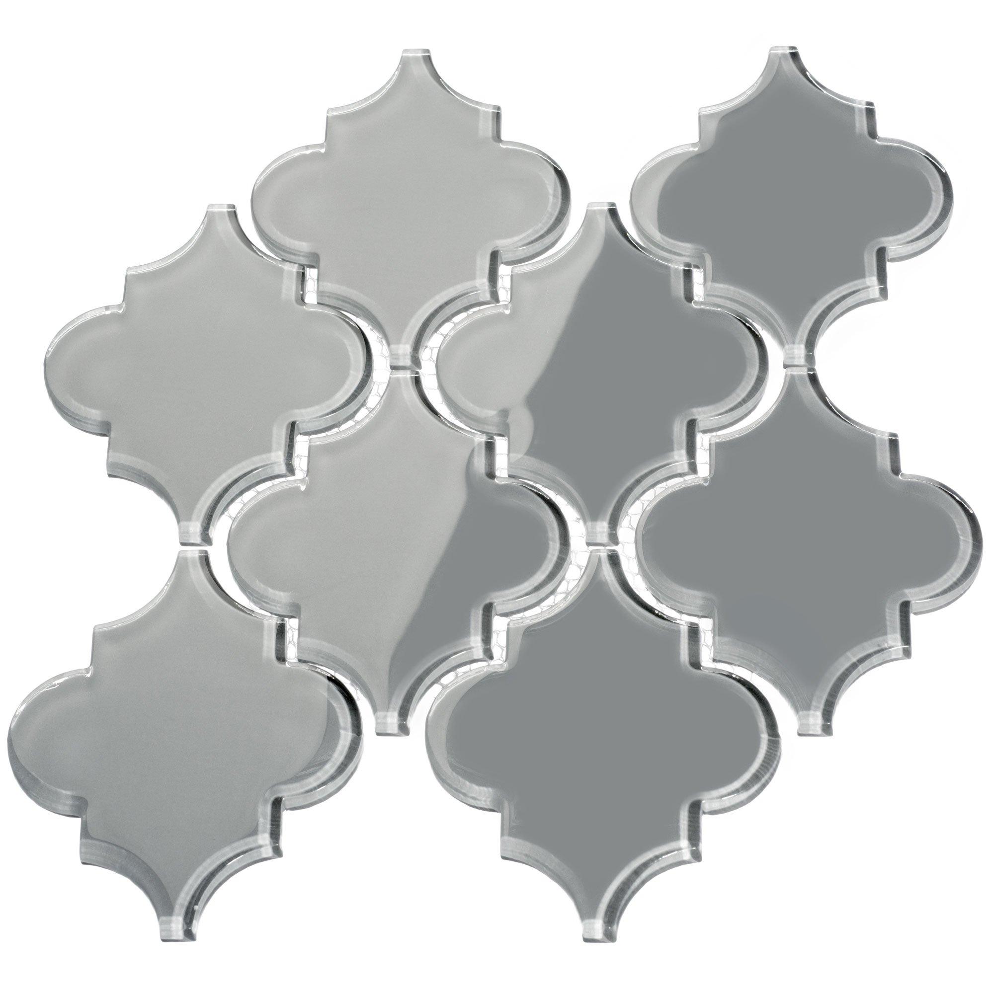 Giorbello Glass Arabesque Tile in True Gray - 2 Sheets by Giorbello