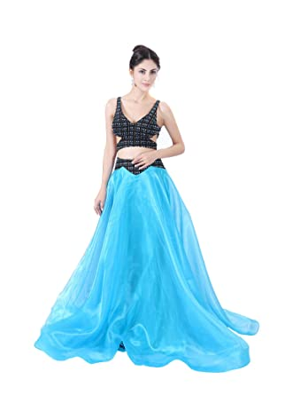 COROLA DIOSA Womens A Line Organza Evening Dresses Advanced Customization Suit-Dress Party Dress Size 4 6 8 10 US Blue