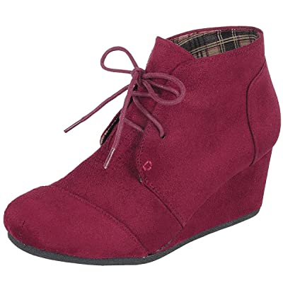 Forever Link Women's Lace up Hidden Wedge Ankle Bootie | Shoes