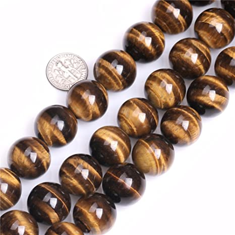 """Natural Round Yellow Tiger/'s Eye Beads Jewelry Making Strand 15/"""" Big Hole In Lot"""