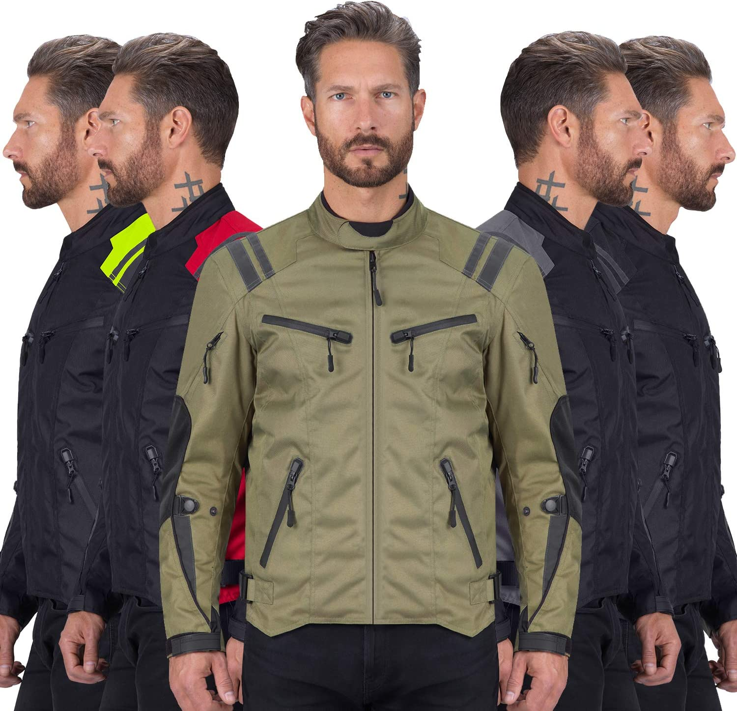 Military Green, XX-Large Viking Cycle Ironborn Motorcycle Textile Jacket For Men