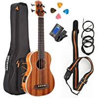Ukulele of Electric Acoustic Bass, Soprano Sapele Wood Hawaii Professional Uke Starter Kits for Beginner and Advanced, Kids and Students with Big Bag,Strings,Strap 30 inch (Concert, Spruce)