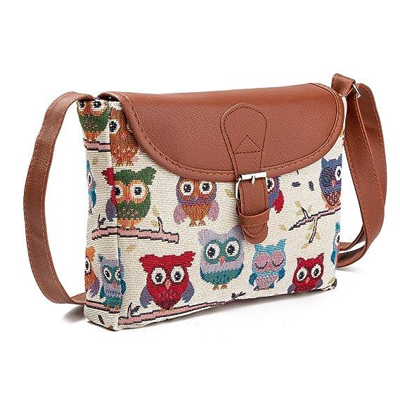 87e71b16932e Nawoshow Fashion Women Lady Many Owl Satchel Cross-Body Bag Shoulder Bag  Messenger Bag (A)