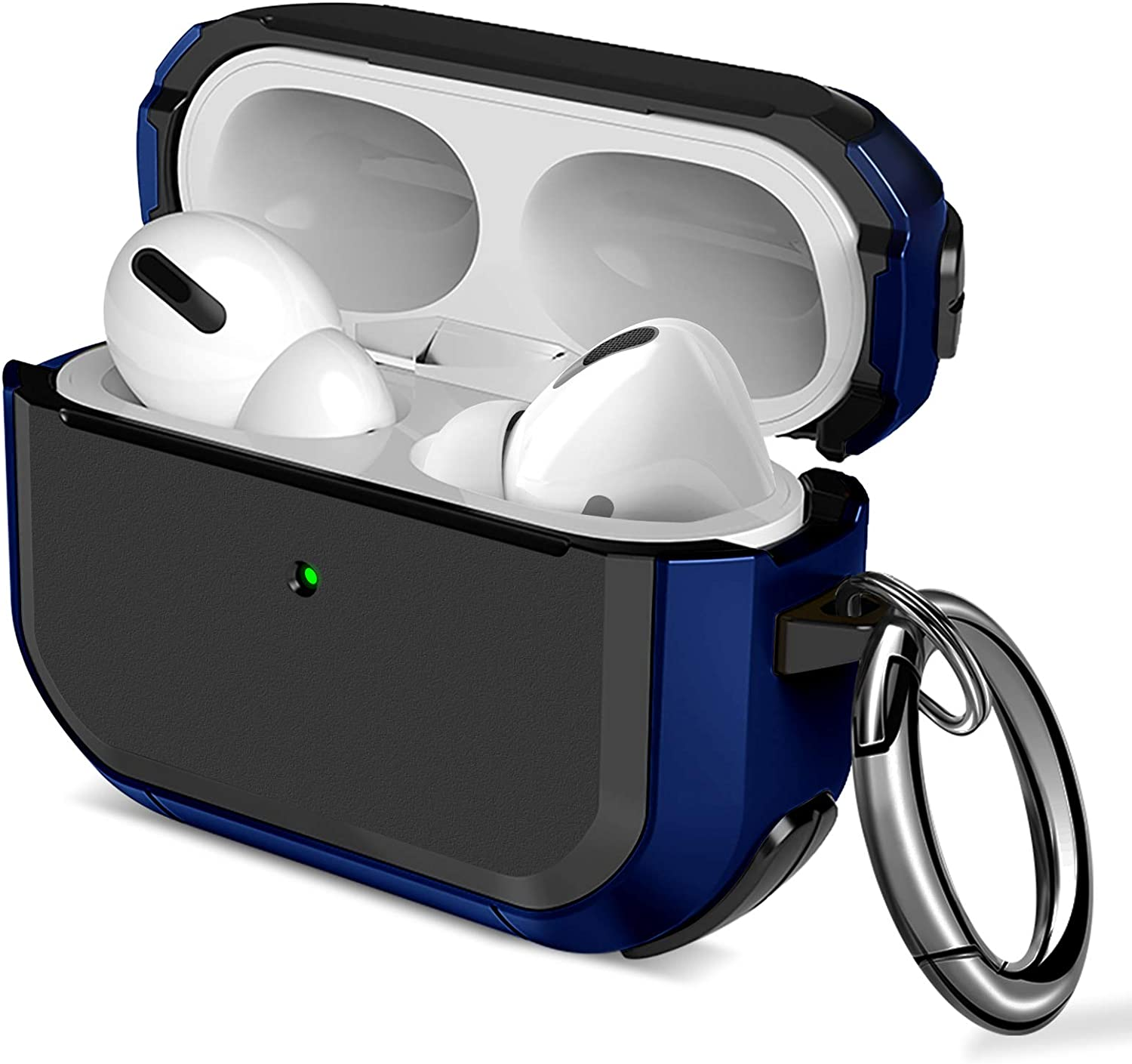 Maxjoy Airpods Pro Case Flexible TPU Protective AirPods Case Shockproof Skin Cover for Apple Airpods 3 &1 Charging Case with Keychain for Men Women [Front LED Visible] (Dark Blue)