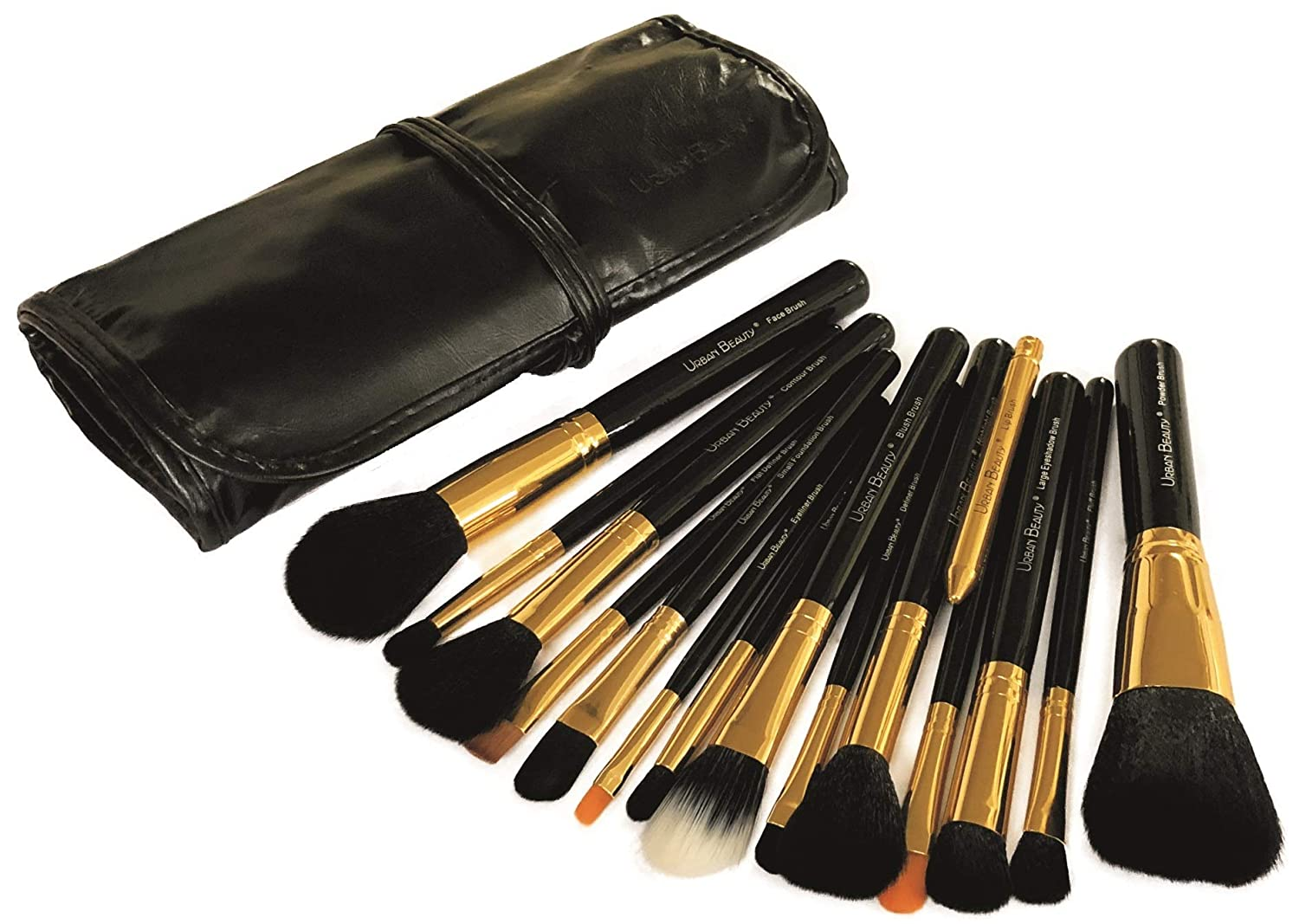 Urban Beuaty Makeup Brush Set with Storage Pouch Model UB-115 (Black and Gold)-15 Pieces