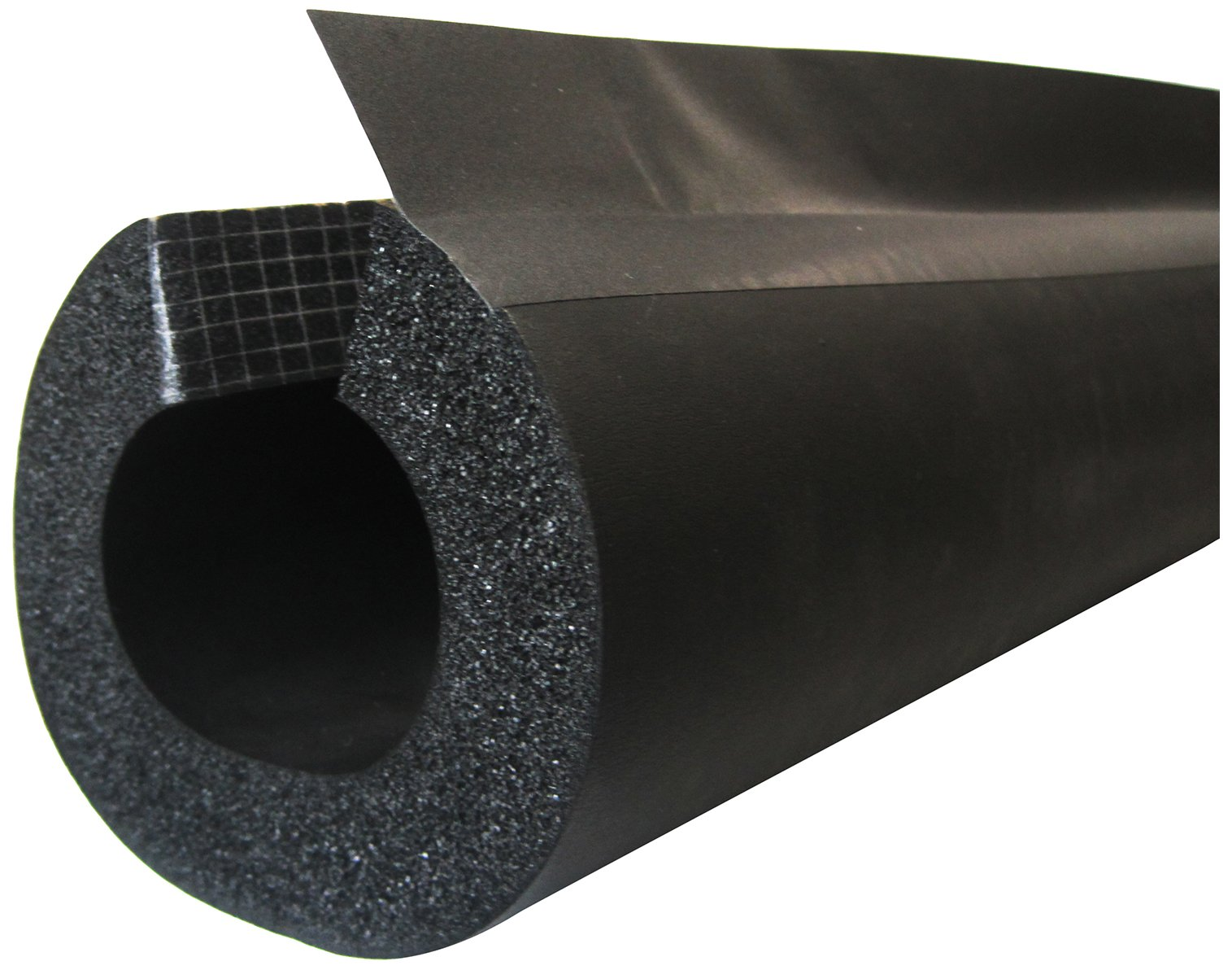 K-Flex 6RXLO100348 NBR/PVC Insul-Lock DS Tube with PVC Overlap Tape, 3-1/2'' Nominal Insulation ID, 6' Length, 1'' Wall Thickness, Black (Pack of 5)